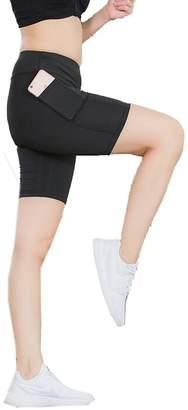 Suncolor8-Women Suncolor8 Womens Quick Dry Side Pocket Stretch Knee Length Legging Gym Yoga Shorts L