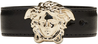 Versace Black & Gold Leather Medusa Bracelet $195 thestylecure.com