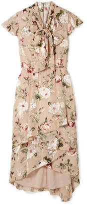 Alice + Olivia Alice Olivia - Lavenia Asymmetric Tiered Devoré-chiffon Dress - Beige
