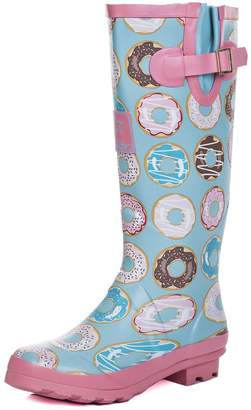 SPYLOVEBUY Knee High Flat Welly Rain Boots Sz 10