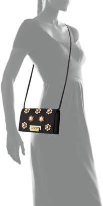 Zac Posen Earthette Floral Appliques Leather Crossbody Bag, Black