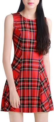Allegra K Women's Round Neck Sleeveless Plaids Mini A Line Dress XL