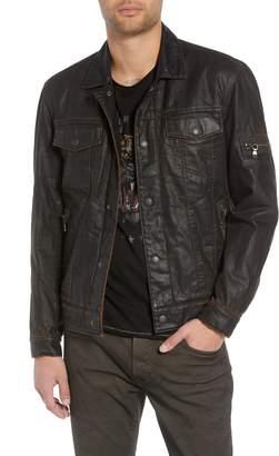 John Varvatos Faux Shearling Lined Coated Trucker Jacket
