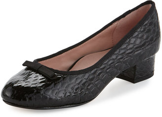Taryn Rose Freed Embossed Leather Ballerina Pump, Black Pattern $179 thestylecure.com