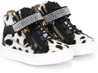 Giuseppe Junior cow print hi-top sneakers