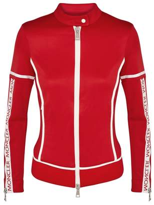 Moncler Red White-trimmed Stretch-jersey Jacket