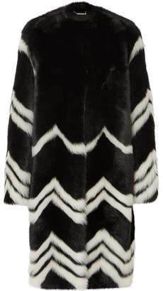 Givenchy Chevron Shearling Coat - Black