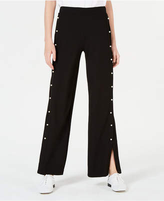Almost Famous Juniors' Faux Pearl-Trimmed Wide-Leg Pants