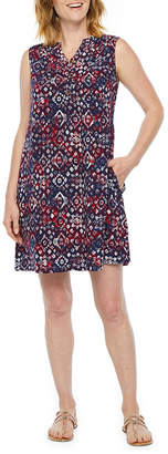 ST. JOHN'S BAY Sleeveless Abstract Shift Dress