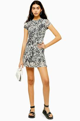 Topshop Animal Print Mesh Tea Dress
