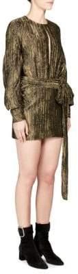 Saint Laurent Metallic Long-Sleeve Firework Dress