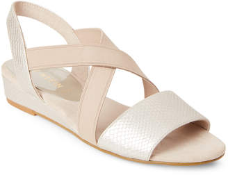 Anne Klein Light Gold Nitsie Snake-Effect Sandals