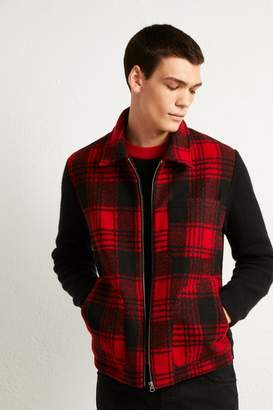 French Connenction Hunting Check Hybrid Zip Sweater