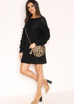 b28bc30e73 Missy Empire Missyempire Fern Black Chunky Knit Jumper Dress