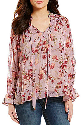 Coco + Jaimeson Floral Printed Tie-Neck Long-Sleeve Blouse $49 thestylecure.com