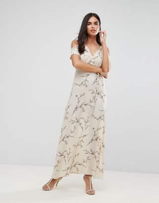 AX Paris Cold Shoulder Floral Maxi Dress With Tie Waist