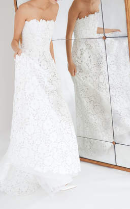 Carolina Herrera Bridal Gertrude Lace Strapless Gown with Contrast Back Bow
