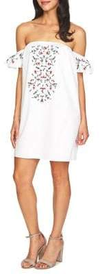 Cynthia Steffe Off-the-Shoulder Floral Embroidered Dress