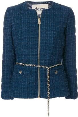 Herno chain belt tweed jacket