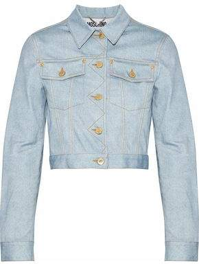 Moschino Cropped Printed Denim Jacket
