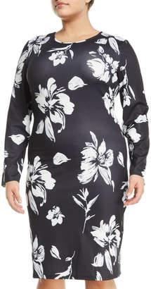 Avantlook Long-Sleeve Floral-Print Sheath Dress, Plus Size