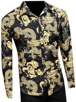 bc6e8588f8 Dragon Optical WSPLYSPJY-men clothes WSPLYSPJY Men s Chinese Style Button  Up Print Cotton T-