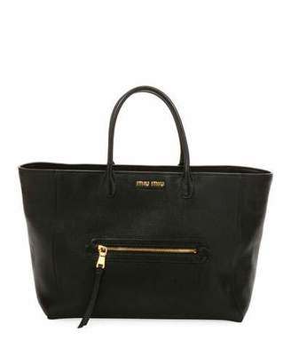Miu Miu Madras Large Goatskin Leather Tote Bag