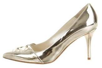 Oscar de la Renta Taset Metallic Pointed-Toe Pumps w/ Tags