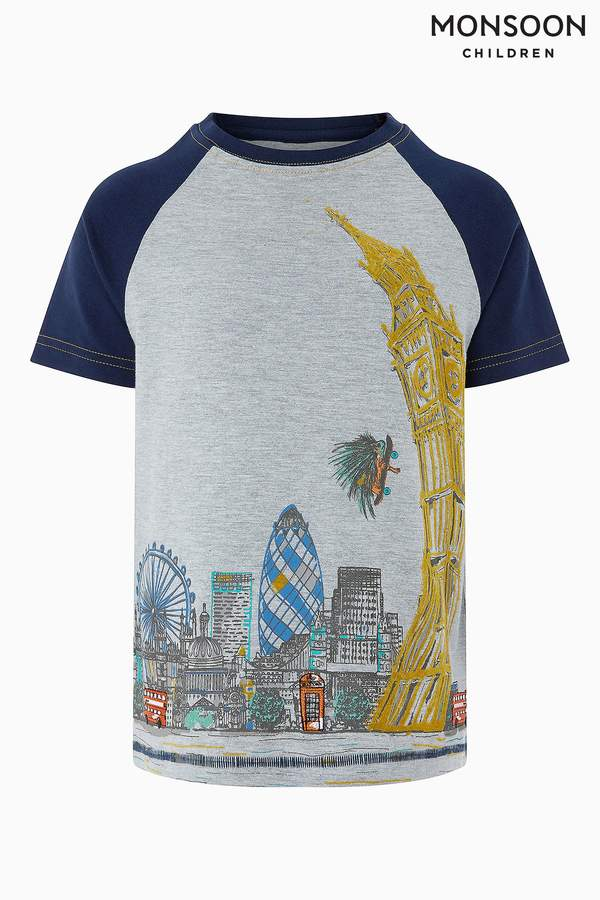 Boys Monsoon Grey Perry London Short Sleeve Raglan Tee - Grey