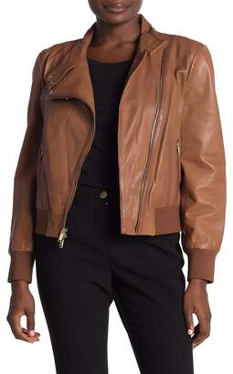 DKNY Solid Zip Front Leather Moto Jacket