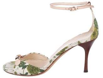 Gucci Floral Ankle-Strap Sandals