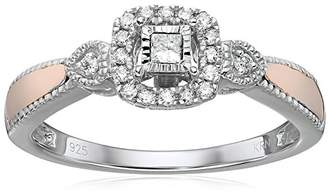 Sterling Silver/10K Rose Gold Plated Princess & Round Diamond Promise Ring (1/6 cttw