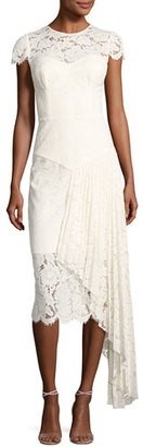 Milly Margaret Cap-Sleeve Floral Lace Cocktail Dress, White $595 thestylecure.com