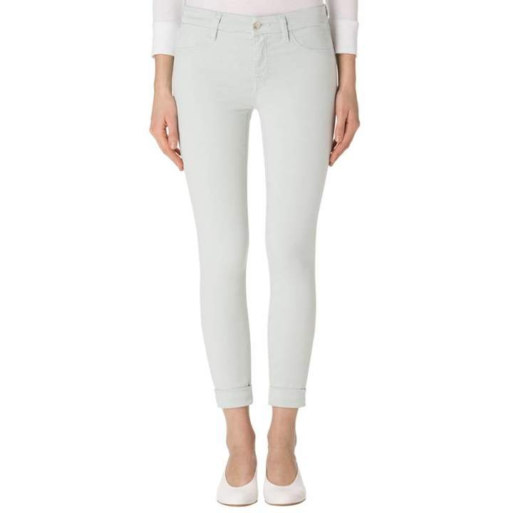 Pale Lichen Green Anja Mid Rise Cuffed Crop Jeans