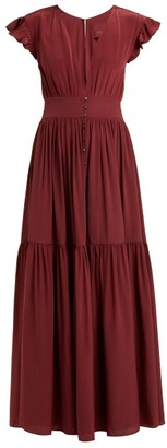 Loup Charmant Mayette Plunge Neck Silk Dress - Womens - Burgundy