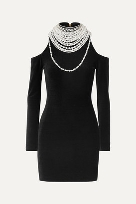 Balmain Cold-shoulder Pearl And Crystal-embellished Stretch-velvet Mini Dress - Black