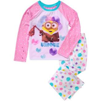AME Sleepwear DESPICABLE ME UNIQUE Minion Girl's Size Graphic Pajama Top, Fleece Pants