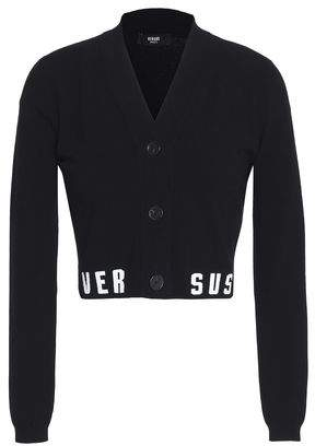 Versace Cropped Jacquard Knit-Trimmed Stretch-Knit Cardigan