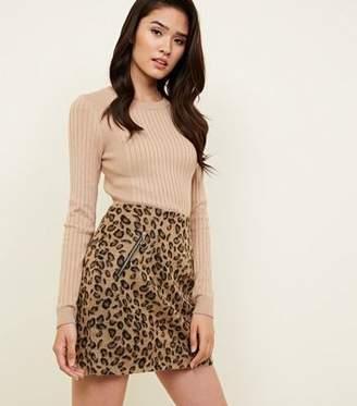 Blue Vanilla Brown Leopard Print Skirt