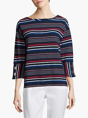 Betty Barclay Ribbed Button Striped Jersey Top, Dark Blue/Red