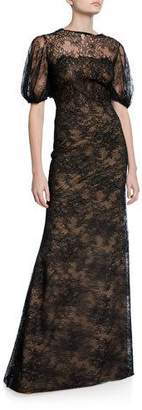 Lela Rose Lace Blouson-Bodice Gown