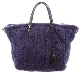 Ermanno Scervino Leather-Trimmed Knit Bag