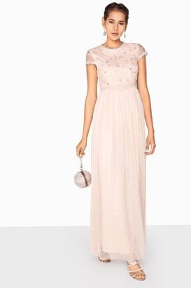 Little Mistress Arabella 3D Floral Mesh Overlay Maxi Dress