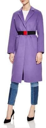 Sandro Felicie Contrast-Color Belted Coat