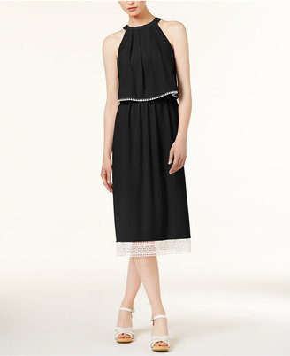 kensie Crochet-Trim Slit-Back Dress $79 thestylecure.com