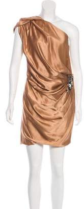 J. Mendel Draped Silk Mini Dress