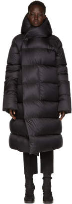 Rick Owens Black Hooded Liner Down Jacket
