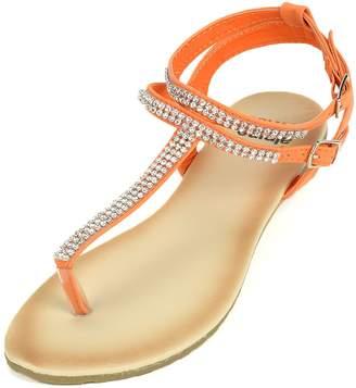 alpine swiss Womens Slingback T-Strap Rhinestone Thong Sandals