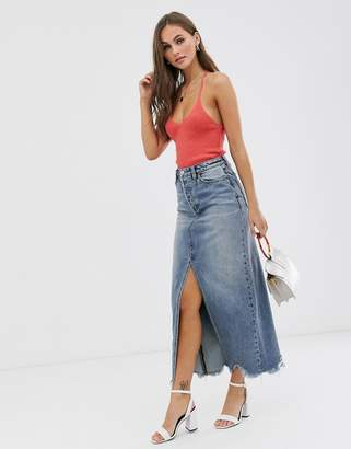 We The Free By Free People by Free People denim maxi skirt with front split