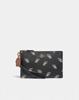 Coach Small Wristlet With Party Owl Print